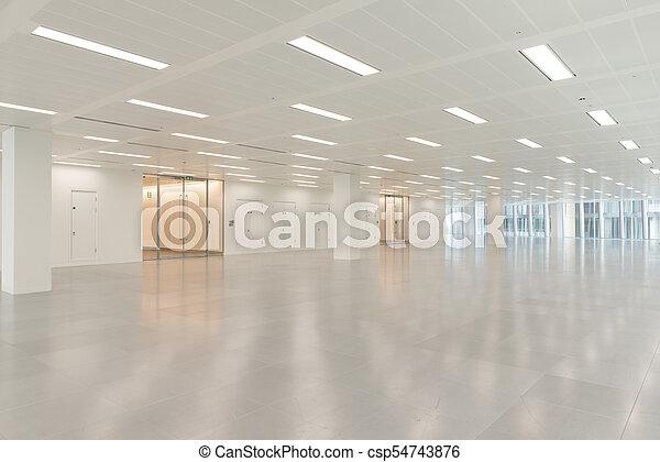 Bâtiment, énorme, électrique, bureau, éclairage, intérieur, vide on