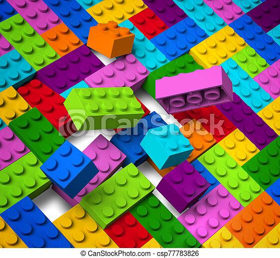 bâtiment, 3d, coloré, blocs, exploser - csp77783826