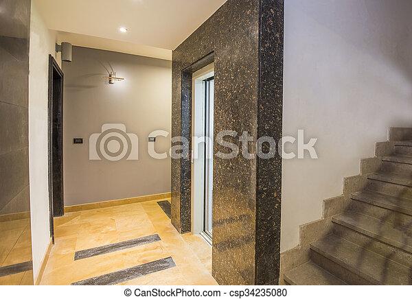 bâtiment, appartement, luxe, couloir, intérieur, os