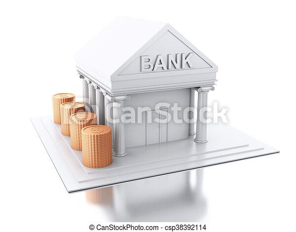 Batiment Argent Pieces Banque 3d Batiment Pieces Image Argent Isole Arriere Plan Renderer Blanc Banque 3d Canstock