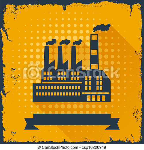 bâtiment, arrière-plan., industriel, usine - csp16220949