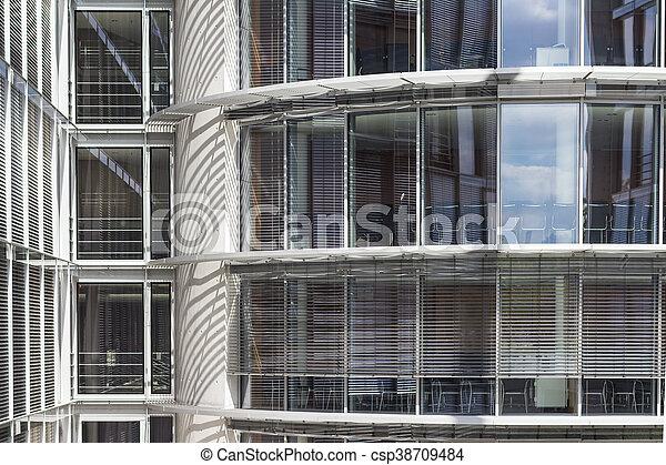 B timent bureau moderne verre extérieur façade