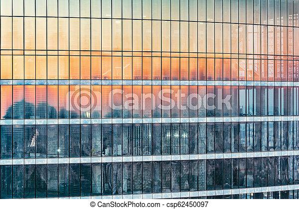 bâtiment, bureau, time., coucher soleil, extérieur, nouveau - csp62450097
