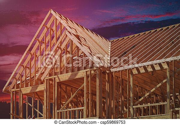bâtiment, cadre, bois, multi-family, construction, logement - csp59869753