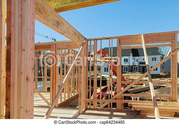 bâtiment, cadre, bois, multi-family, construction, logement - csp64234485