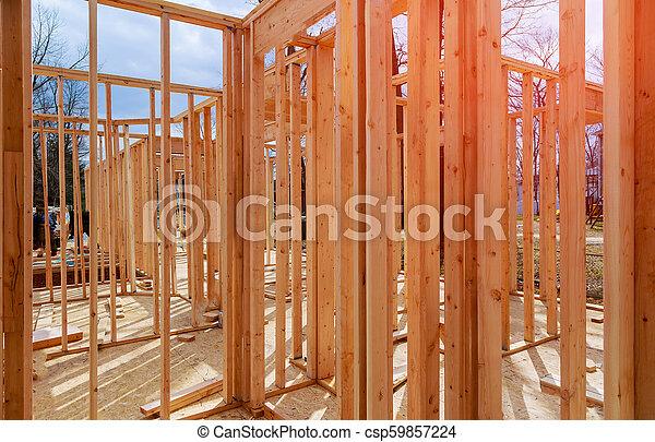 bâtiment, cadre, bois, multi-family, construction, logement - csp59857224