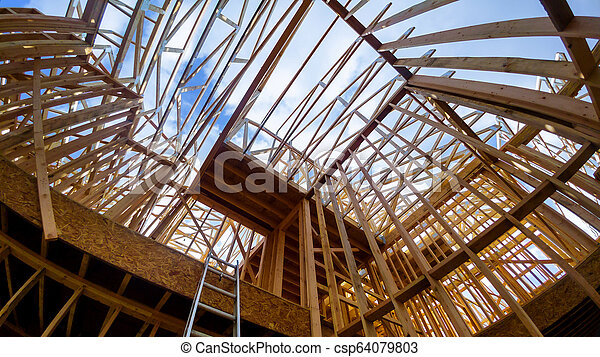 bâtiment, cadre, site, bois, multi-family, construction, logement - csp64079803