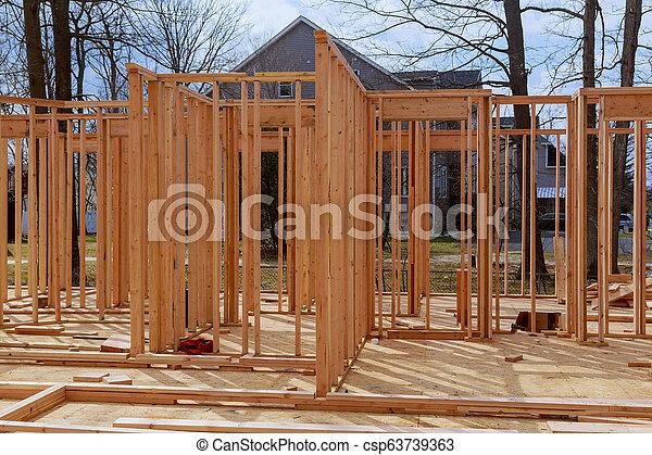 bâtiment, cadre, site, bois, multi-family, construction, logement - csp63739363