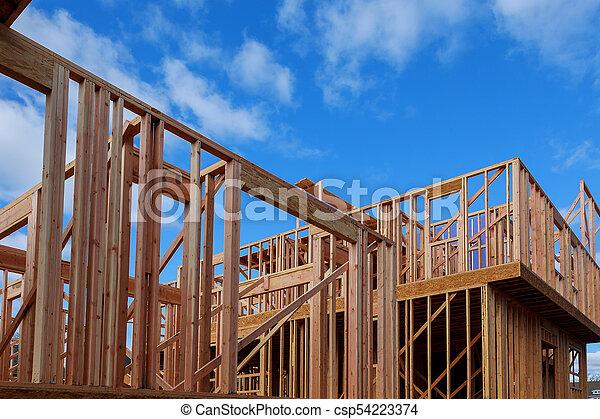 bâtiment, cadre, site, bois, multi-family, construction, logement - csp54223374