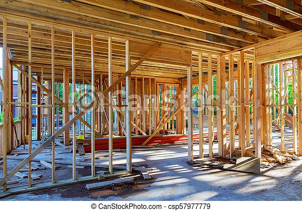bâtiment, cadre, site, bois, multi-family, construction, logement - csp57977779