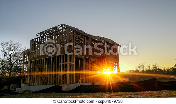 bâtiment, cadre, site, bois, multi-family, construction, logement - csp64079738