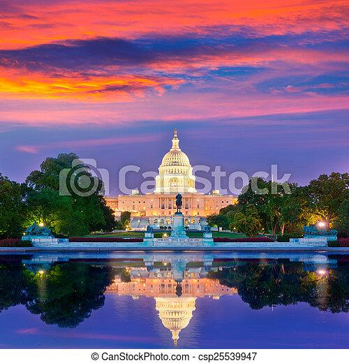 bâtiment, capitole, congrès, washington dc, coucher soleil - csp25539947
