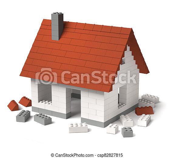bâtiment, construire, bloc, tuiles, maison, jouet, 3d - csp82827815