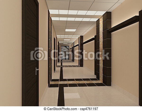 Bâtiment, couloir, moderne, vide. Bâtiment, bureau, moderne, couloir ...