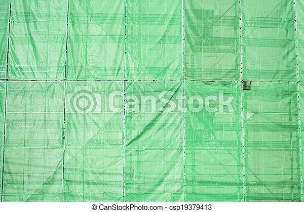 bâtiment, couverture, site, tissu, construction, vert - csp19379413