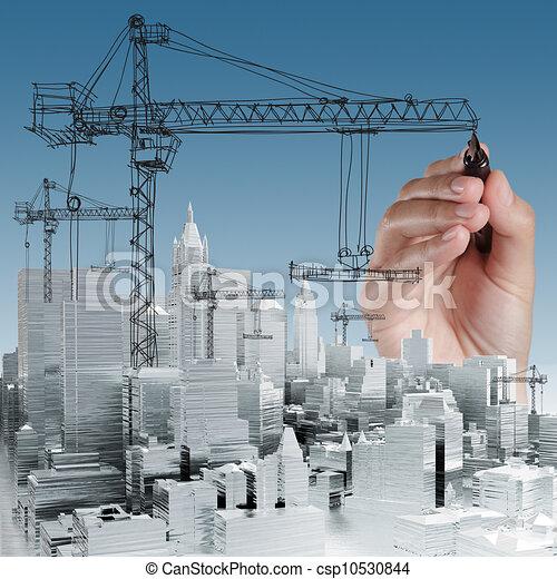 bâtiment, développement, concept - csp10530844