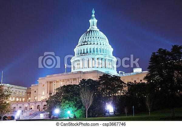 bâtiment, dc, capitole, washington, colline - csp3667746