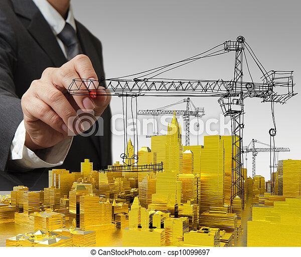 bâtiment, doré, concept, développement, dessine - csp10099697