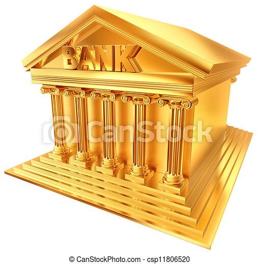 Batiment Dore Symbole Banque 3d Batiment Dore Formulaire Symbole Stylise Banque 3d Canstock