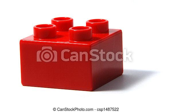 bâtiment, duplo, bloc, rouges - csp1487522