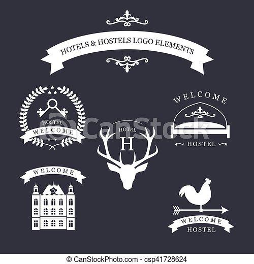 bâtiment, emblème, vendange, hôtel, lit, cerf, temps, kyes, girouette, vieux, logo., ton, auberge - csp41728624