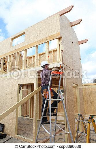 bâtiment, emmagasiner construction, ouvrier - csp8898638