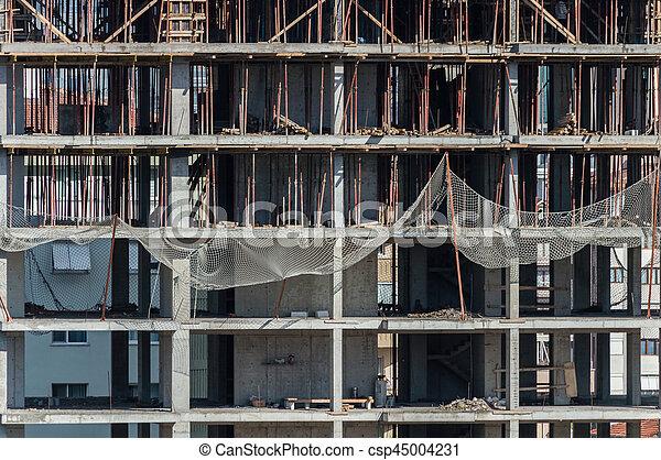 bâtiment, frontal, site, construction, vue - csp45004231