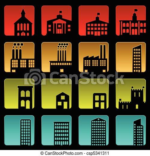bâtiment, icônes - csp5341311