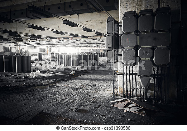 B timent industriel abandonn s usine sale int rieur for Interieur usine