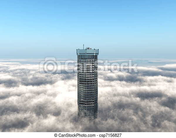 bâtiment, levée, nuages, au-dessus, bureau - csp7156827