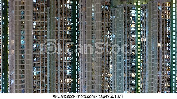 bâtiment, logement, public, nuit - csp49601871