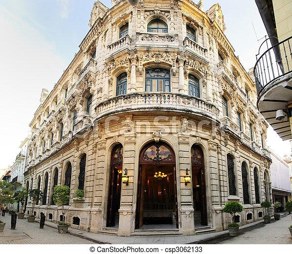 bâtiment, luxueux, façade, vieux, havane, cuba - csp3062133