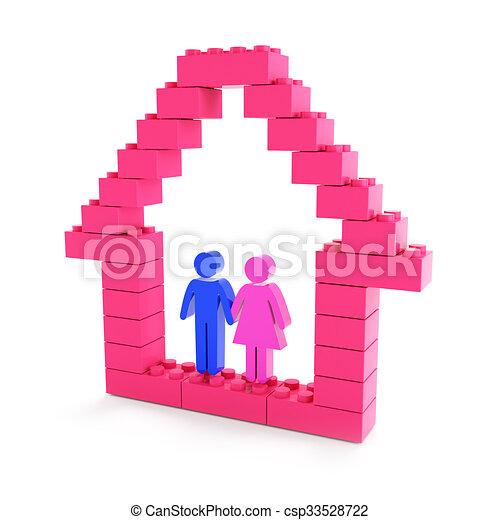 bâtiment, maison, famille - csp33528722