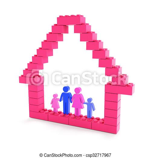 bâtiment, maison, famille - csp32717967