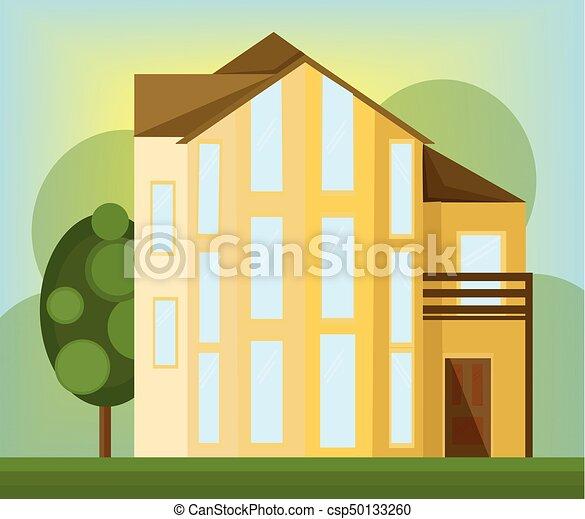 bâtiment, maison, moderne, jaune, vecteur, architecture, façade