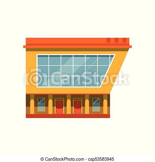bâtiment, marché, moderne, illustration, façade, vecteur, extérieur, magasin - csp53583945