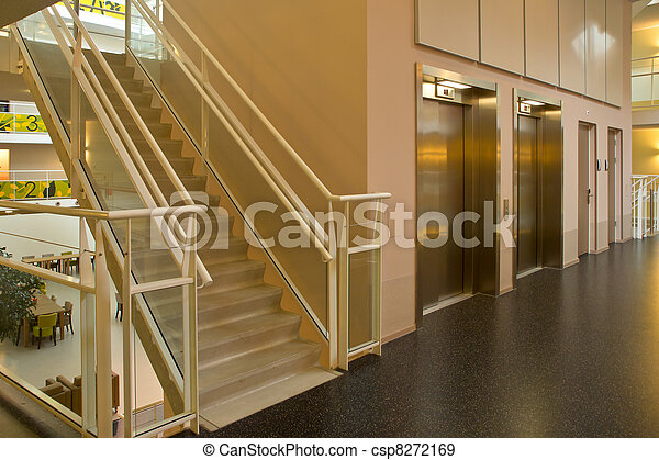 bâtiment, moderne, ascenseur, escalier