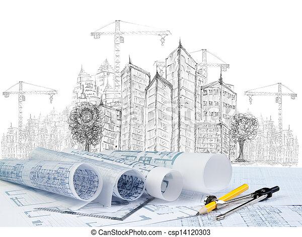 bâtiment, moderne, esquisser, construction, plan, document - csp14120303
