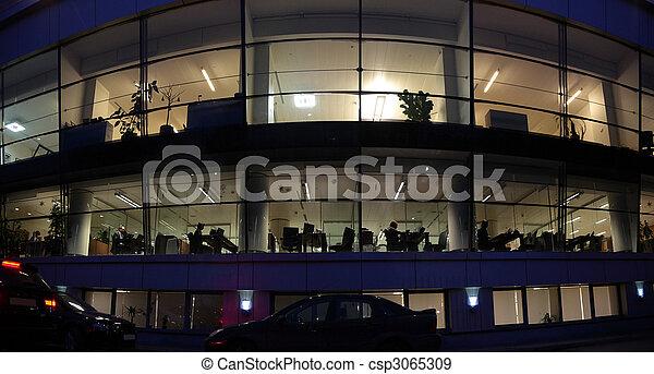 bâtiment, mur, soir, bureau - csp3065309