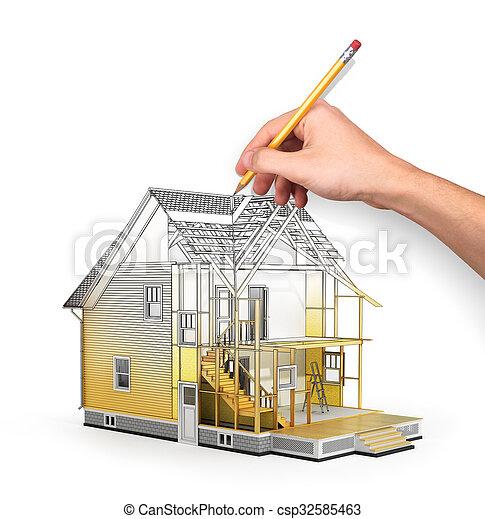 Btiment Nous Concept Sketch Render Processus  Image De