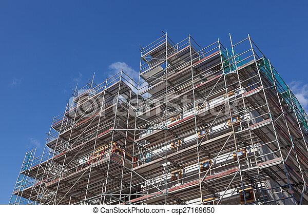 bâtiment, nouveau, construction, échafaudage, site - csp27169650