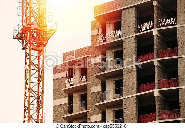 bâtiment, nouveau, construction, soir, site - csp55532101