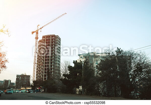 bâtiment, nouveau, construction, soir, site - csp55532098