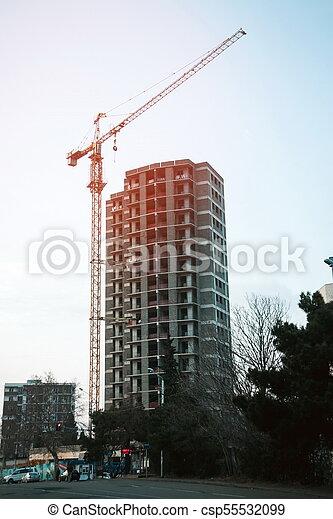 bâtiment, nouveau, construction, soir, site - csp55532099