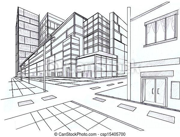 bâtiment, point, perspective, deux - csp15405700