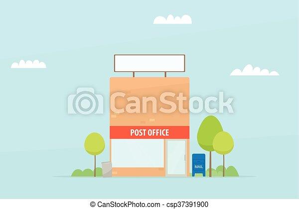 Bâtiment Poste Dessin Animé Bureau
