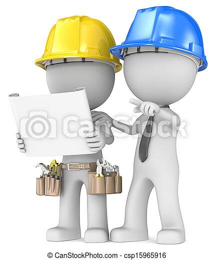 bâtiment, projet, planning. - csp15965916