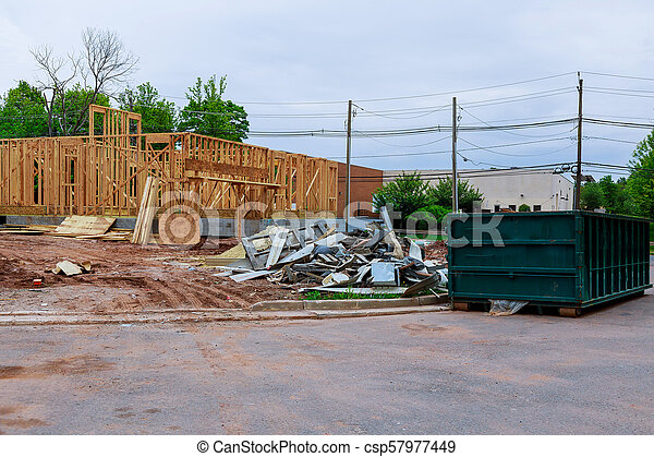 bâtiment, récipient, cadre, recyclage, bois, multi-family, construction, déchets ménagers, logement - csp57977449