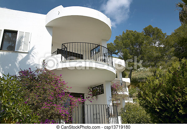 bâtiment, résidentiel, balcons - csp13719180