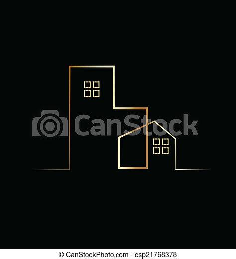 bâtiment, résidentiel, maison, logo - csp21768378